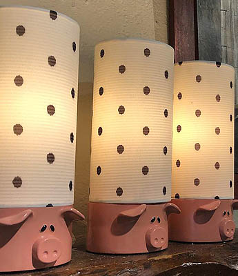 Old Spud Warehouse Pig Lamps
