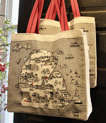 Michigan Lower Upper Peninsula Tote Bags